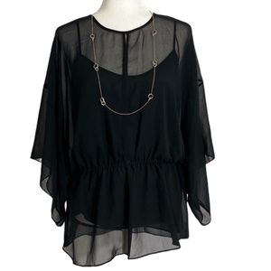NWT Tory Sheer Black Tunic With Cami Size 10